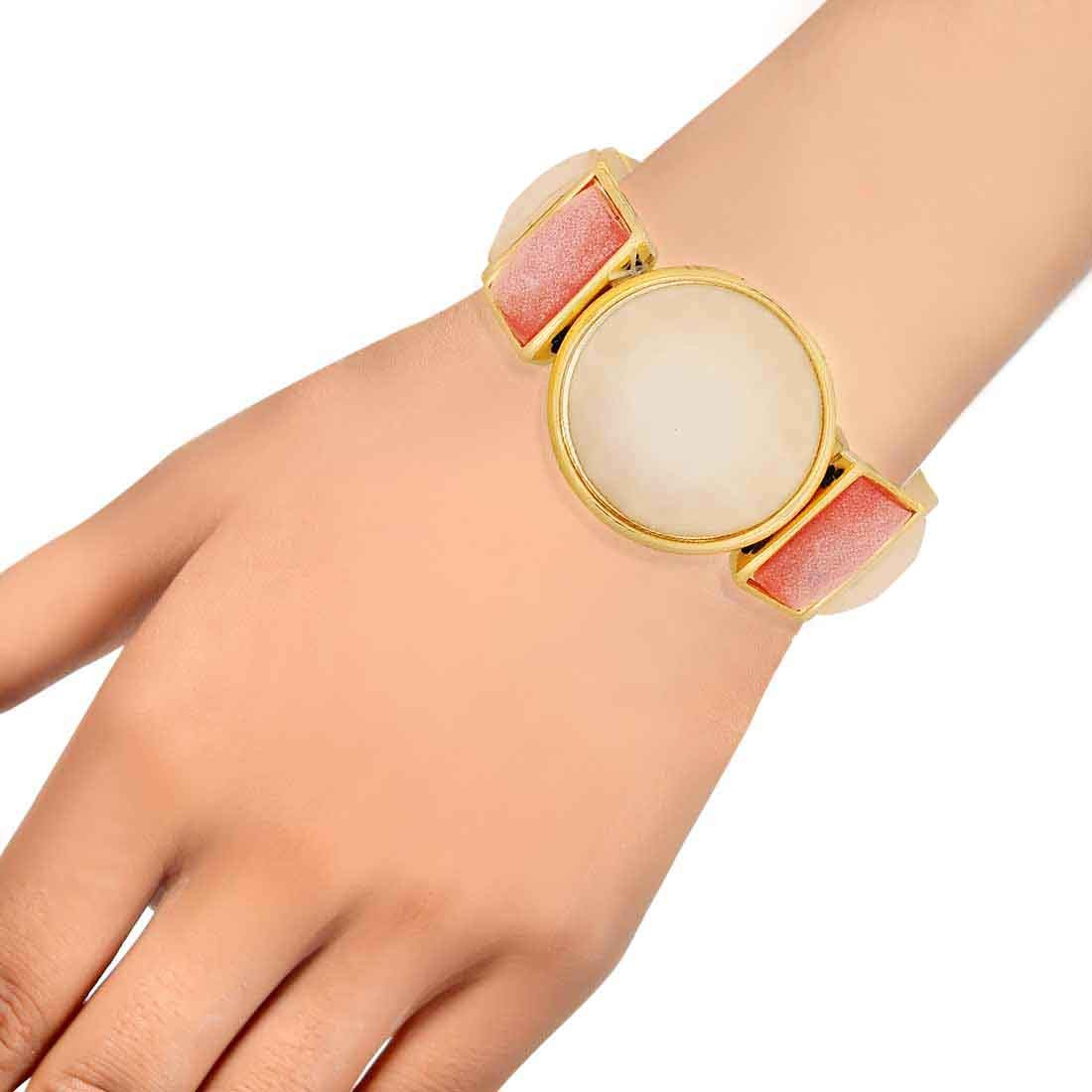 Suave Pink Off-White Designer Adjustable Cocktail Bracelet Alloy Maayra MY7709