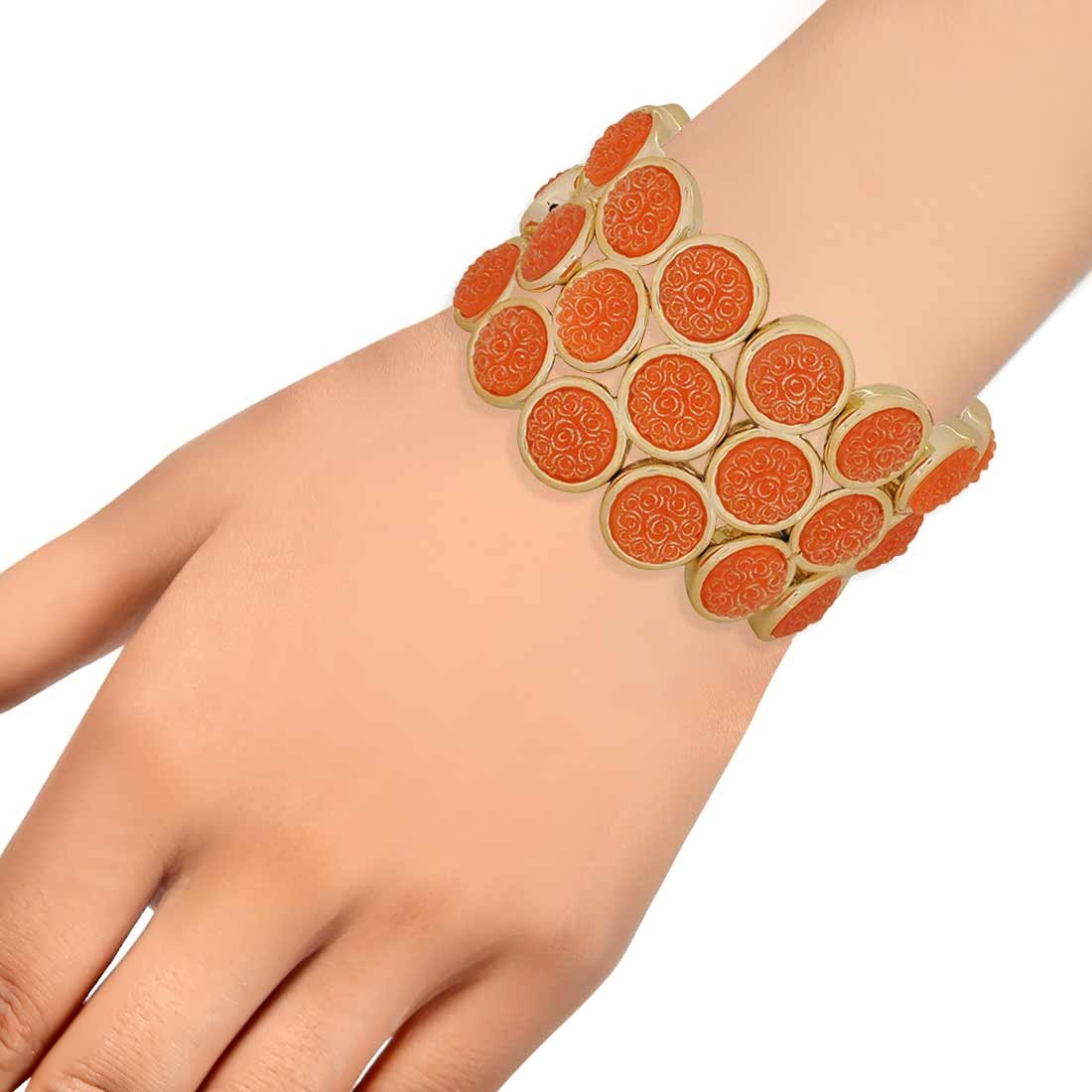 Dashing Orange Gold Adjustable Get-together Bracelet Alloy Maayra MY7710