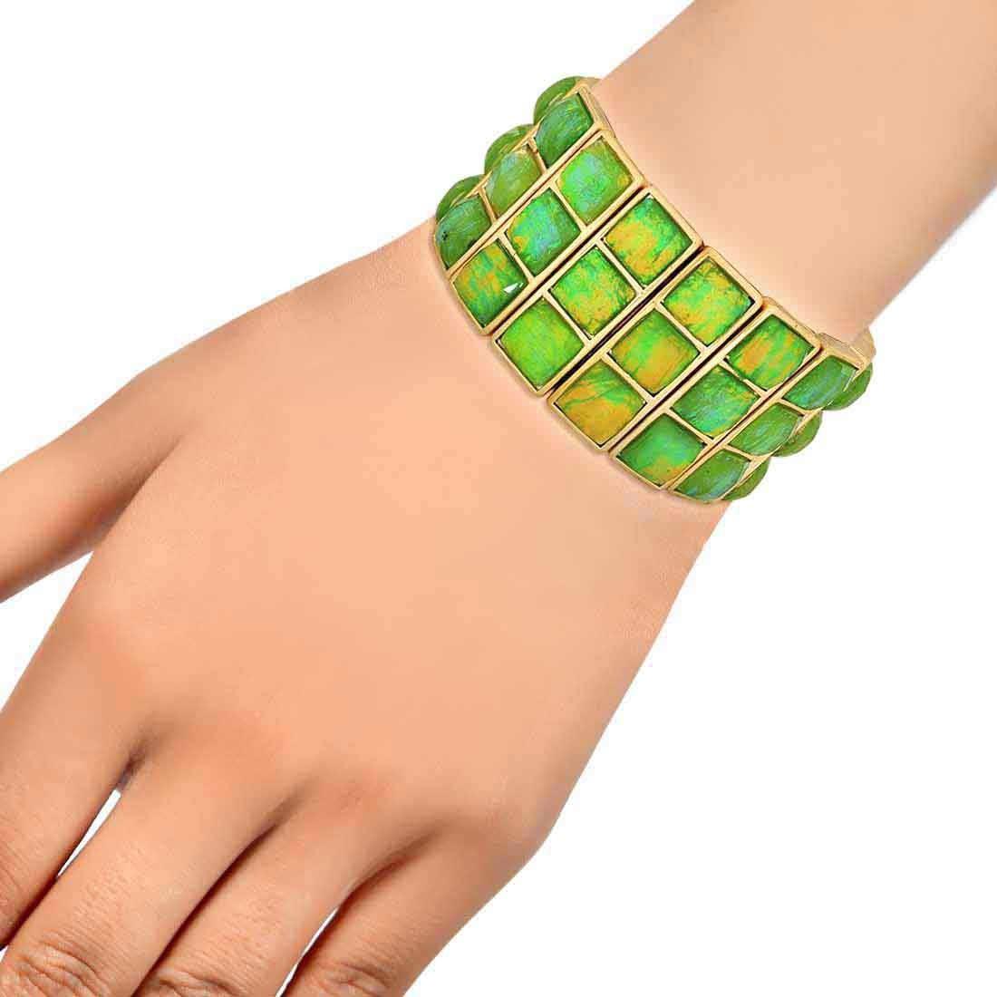 Sexy Green Yellow Designer Adjustable Dailywear Bracelet Alloy Maayra MY7712