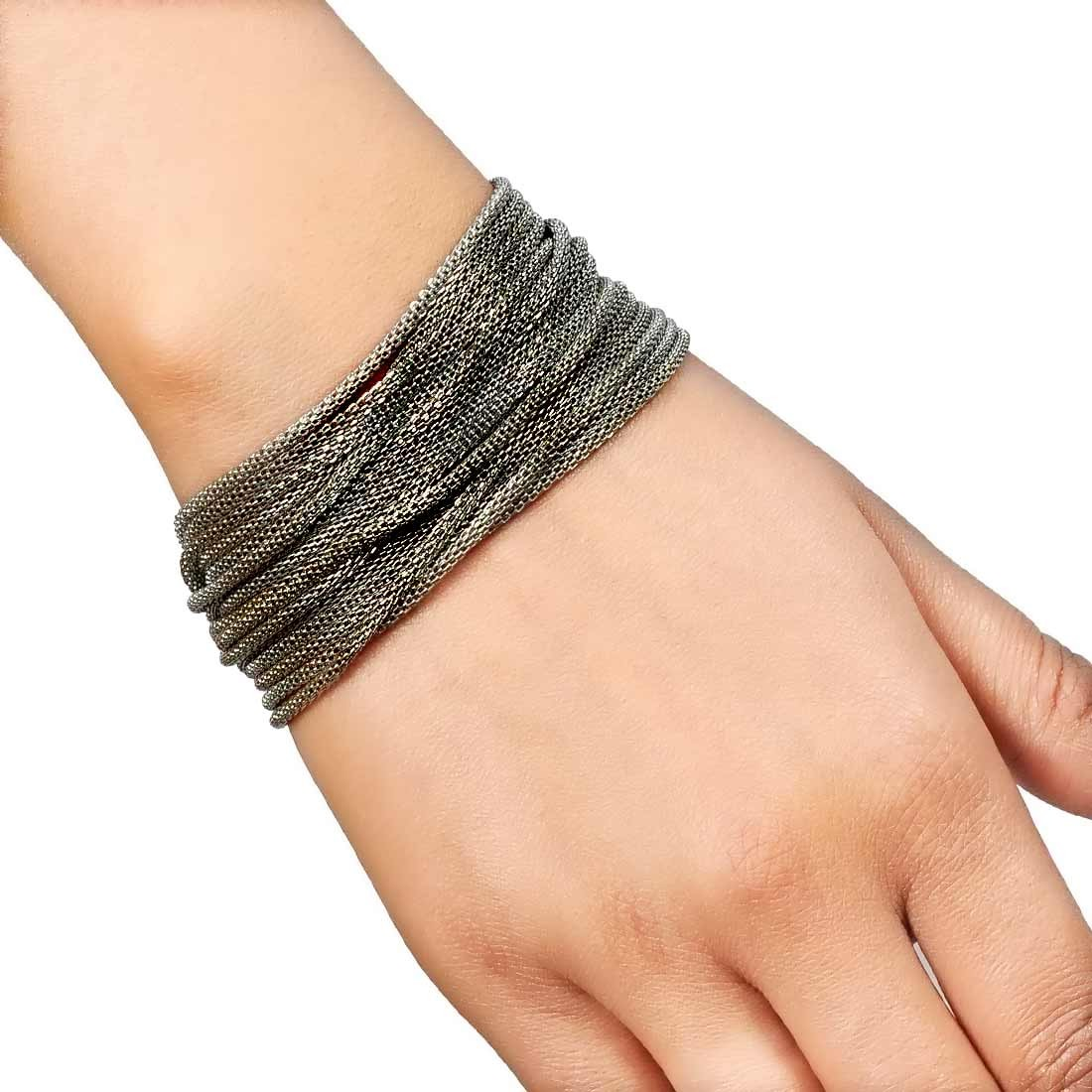 Chic Grey Contemporary Adjustable Cocktail Size Bracelet Alloy Maayra MY7715