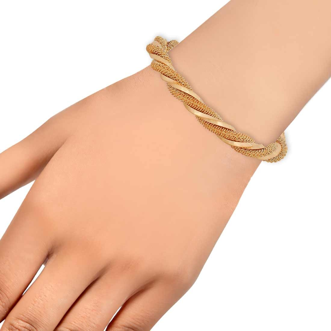 Plush Gold Contemporary Adjustable Get-together Size Cuff Alloy Maayra MY7716