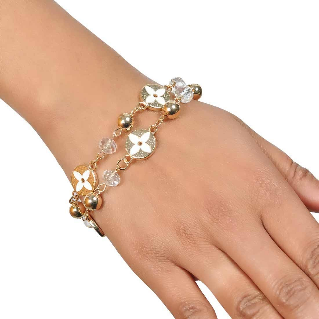 Sober White Bronze in-Trend Adjustable Reunion Bracelet Alloy Maayra MY7723