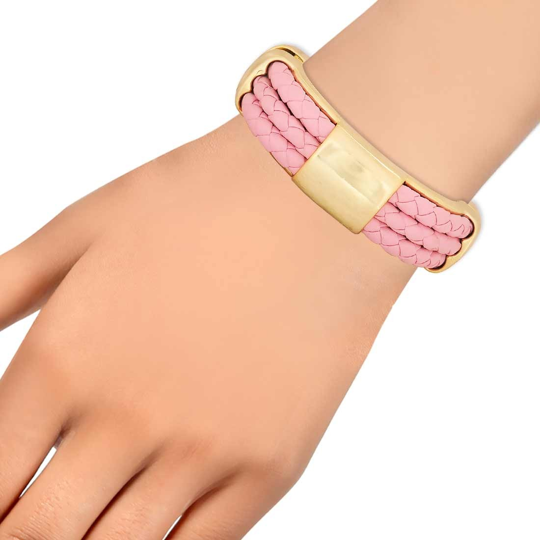 Sensual Pink Gold in-Trend Adjustable Get-together Bracelet Alloy Maayra MY7729