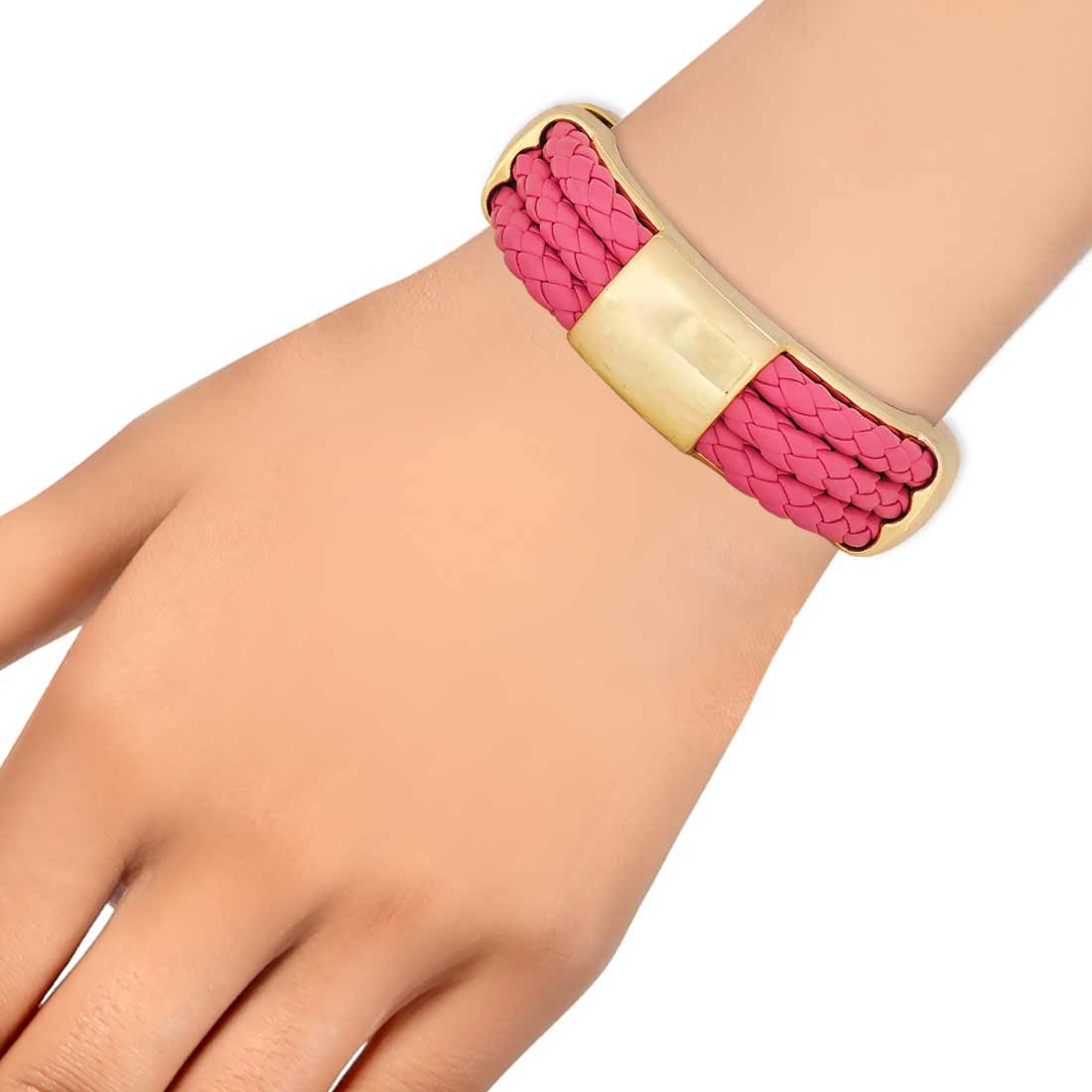 Sexy Pink Gold in-Trend Adjustable College Size Bracelet Alloy Maayra MY7732