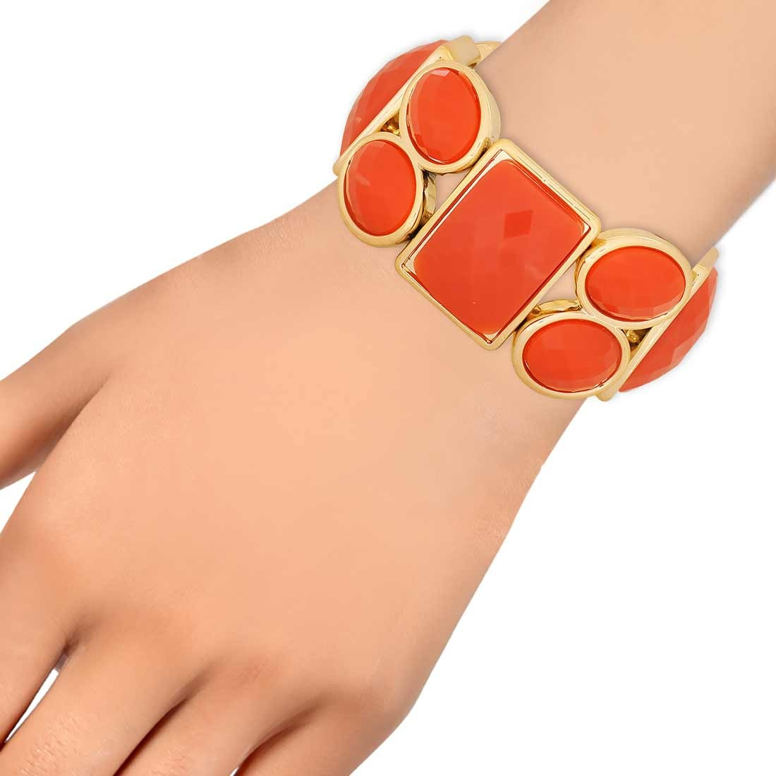 Unique Orange in-Trend Adjustable Cocktail Size Bracelet Alloy Maayra MY7734
