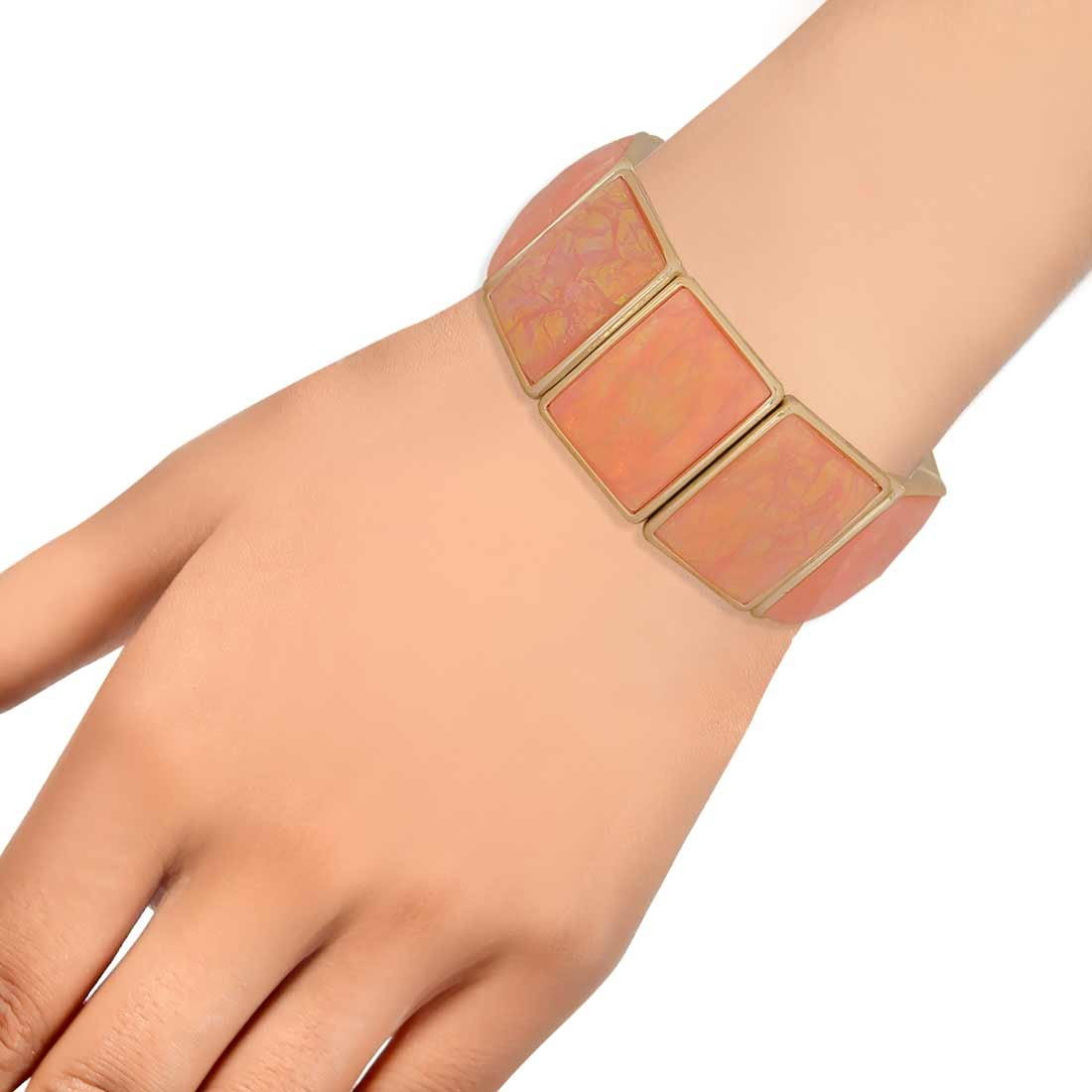 Fantastic Orange in-Trend Adjustable Reunion Size Bracelet Alloy Maayra MY7736