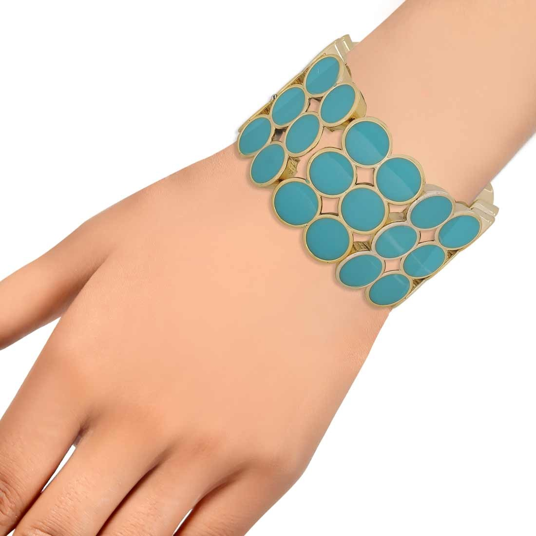 Sizzling Blue in-Trend Adjustable Cocktail Size Bracelet Alloy Maayra MY7740