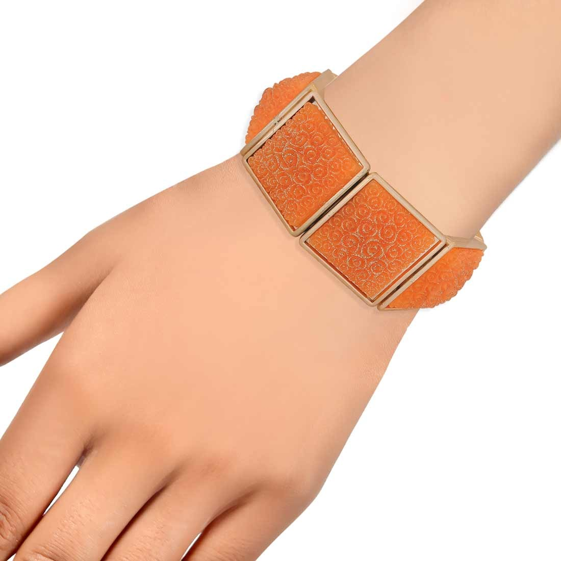 Stunning Orange in-Trend Adjustable Get-together Bracelet Alloy Maayra MY7741