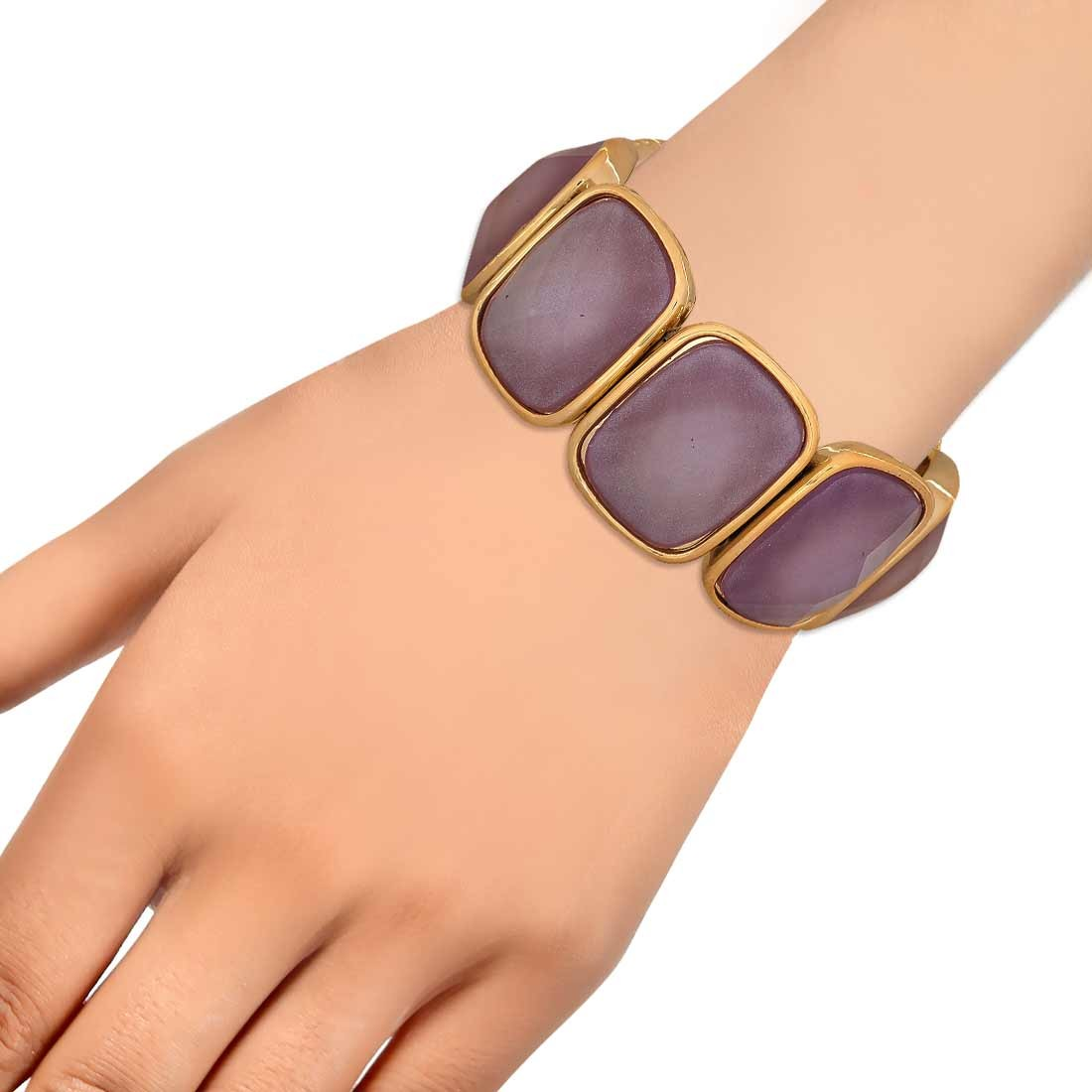 Classic Purple Gold in-Trend Adjustable Cocktail Bracelet Alloy Maayra MY7747