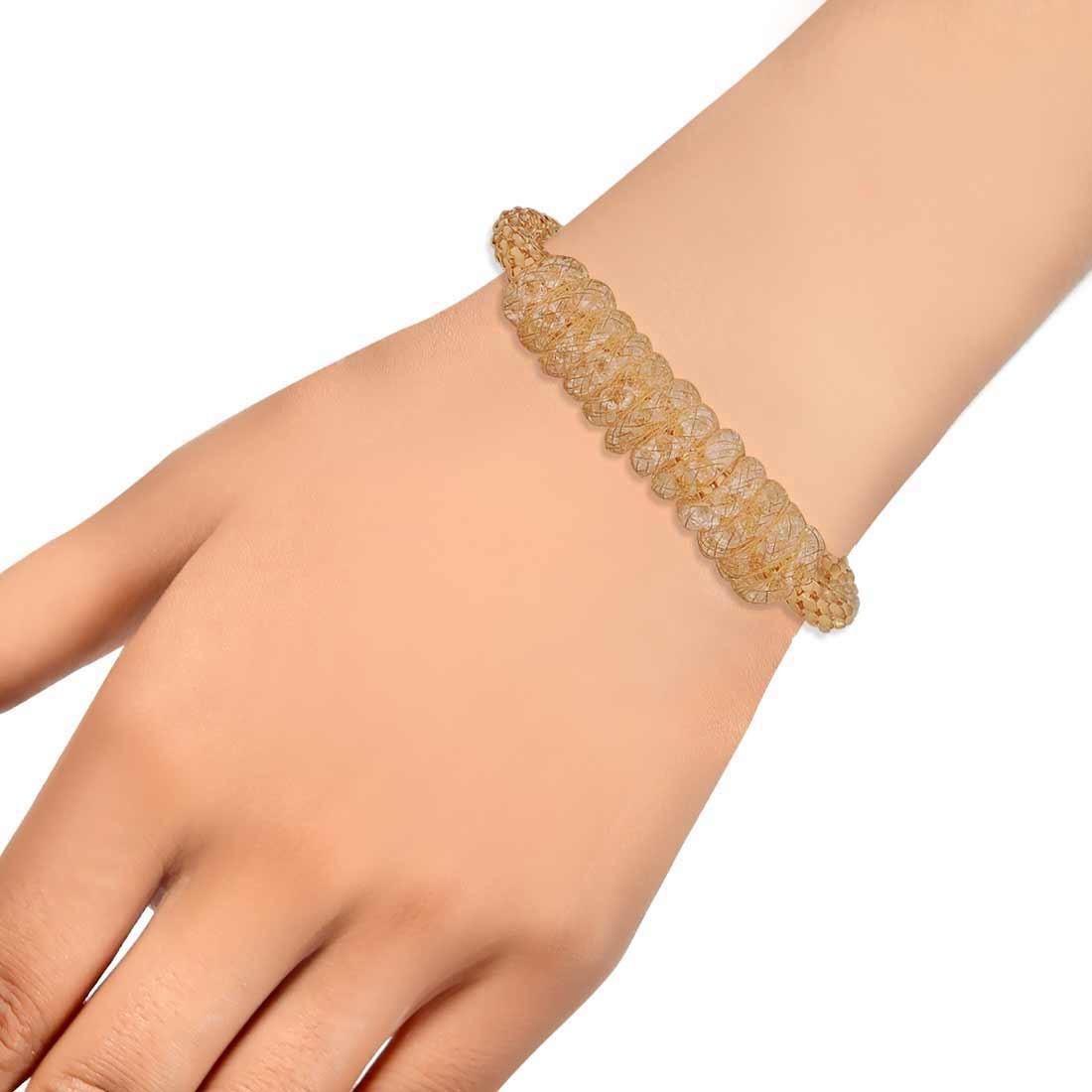 Beautiful Gold Jaali Work Adjustable Casualwear Bracelet Alloy Maayra MY7757