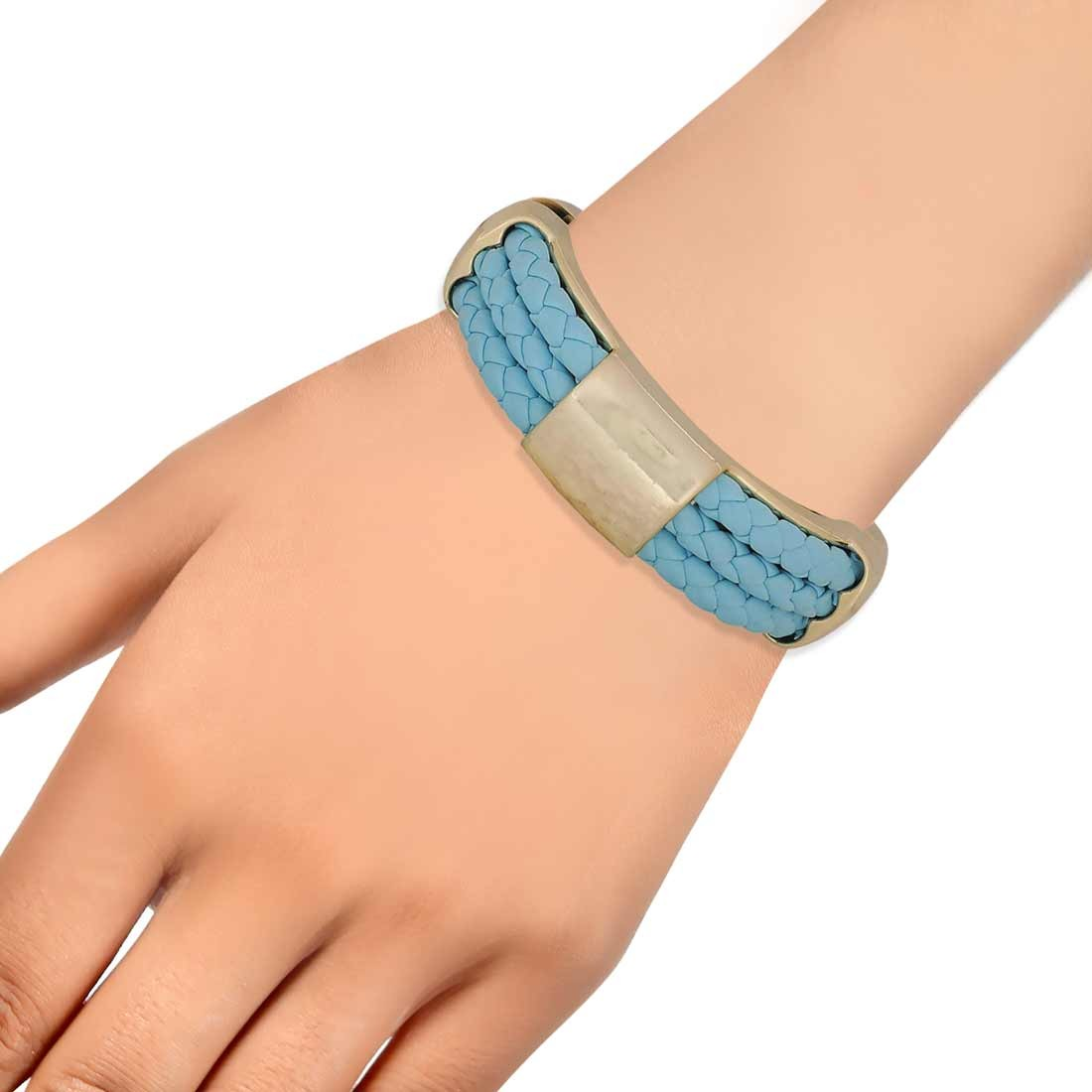 Trendy Blue Gold in-Trend Adjustable Cocktail Size Bracelet Alloy Maayra MY7760
