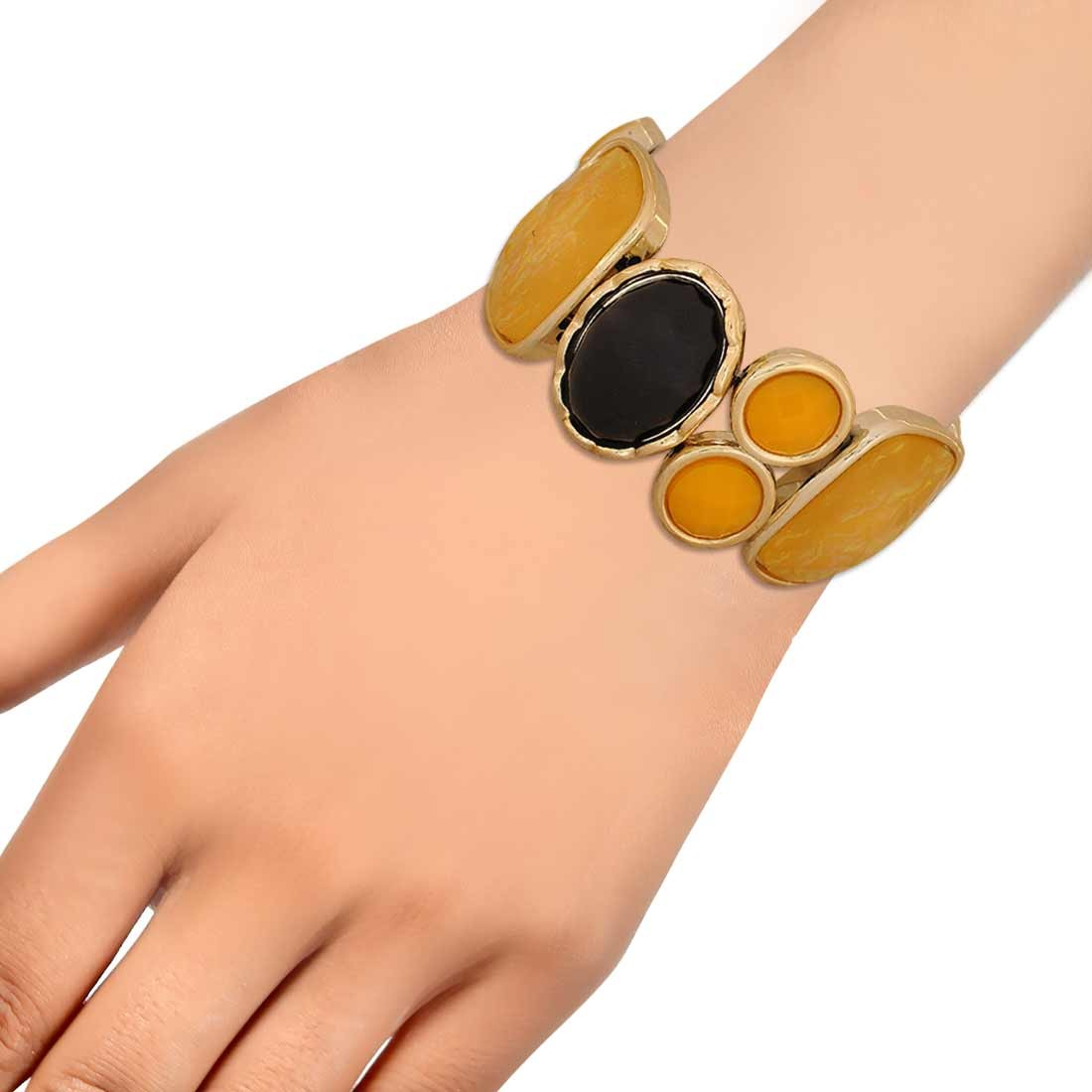 Bright Yellow Black in-Trend Adjustable Reunion Bracelet Alloy Maayra MY7762