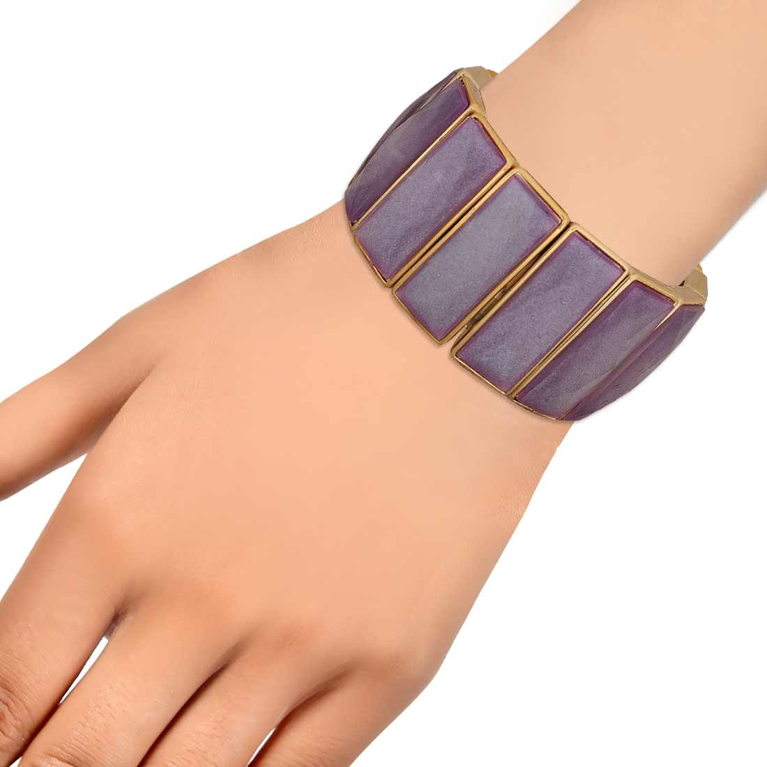 Cool Purple Gold in-Trend Adjustable Casualwear Bracelet Alloy Maayra MY7763