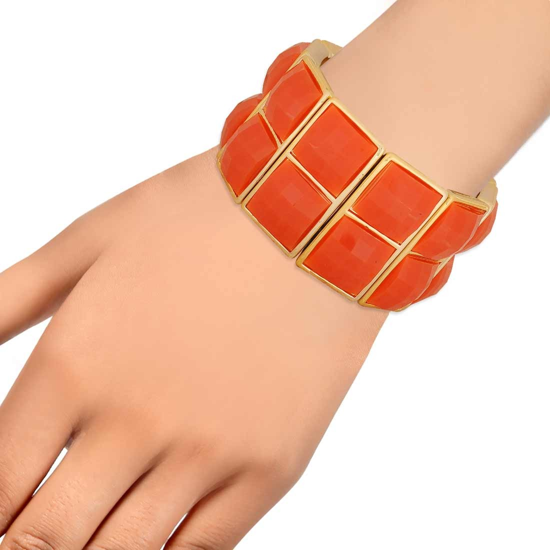 Charming Orange Gold in-Trend Adjustable College Bracelet Alloy Maayra MY7770