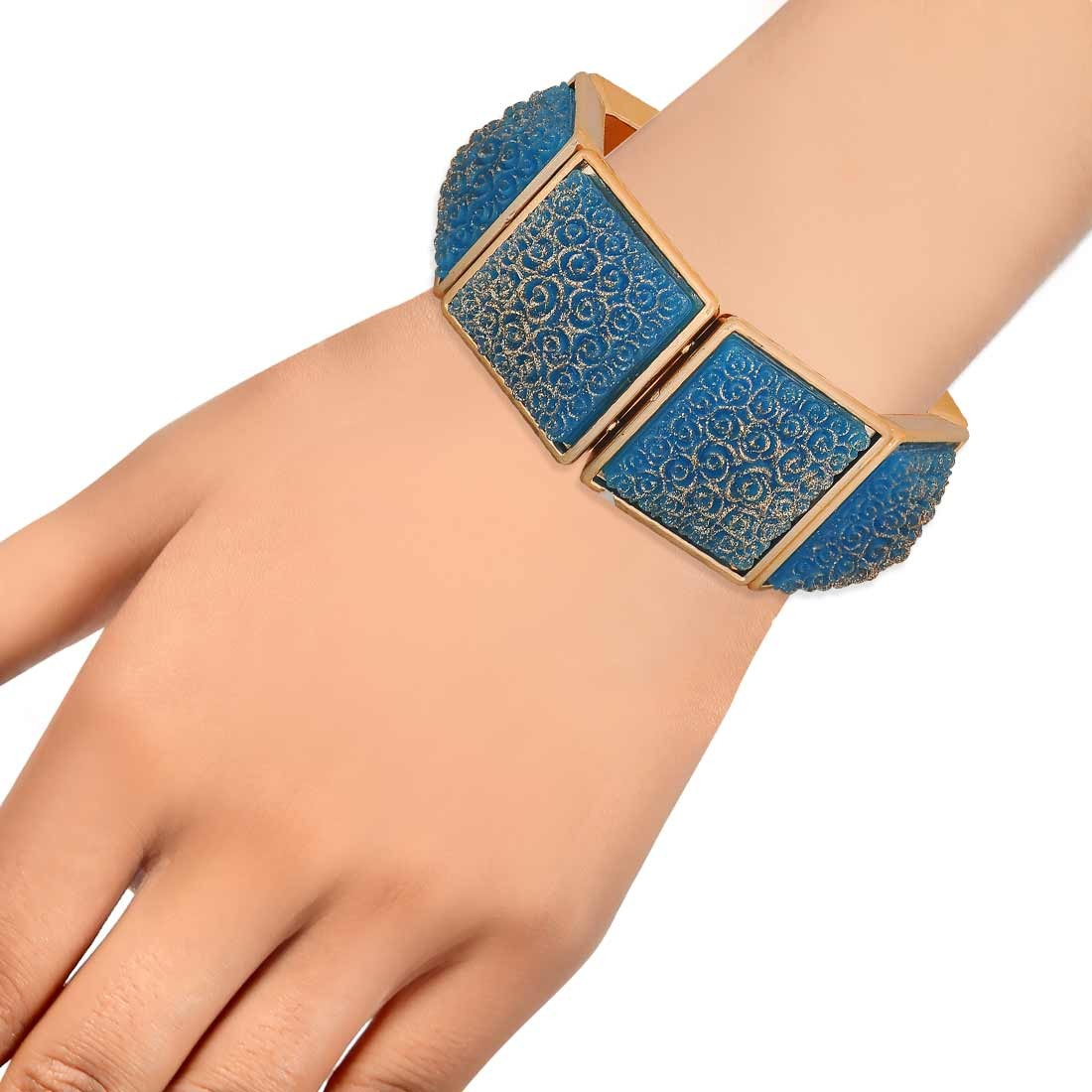 Awesome Blue Bronze in-Trend Adjustable College Bracelet Alloy Maayra MY7776