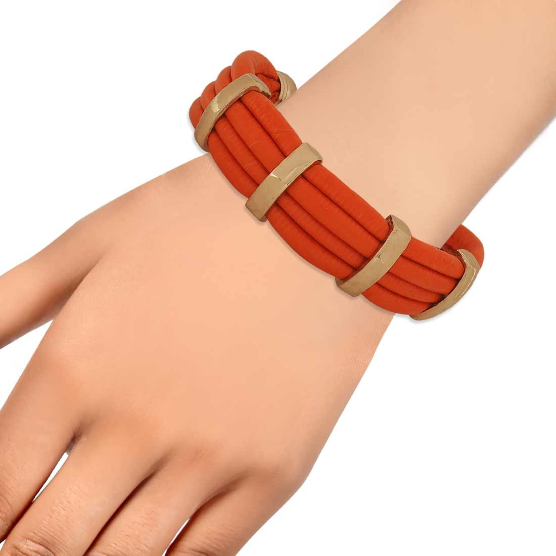 Cute Orange Gold in-Trend Adjustable Party Size Bracelet Alloy Maayra MY7777