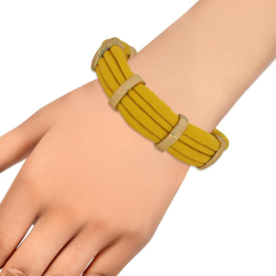 Sober Yellow Gold in-Trend Adjustable Get-together Bracelet Alloy Maayra MY7779