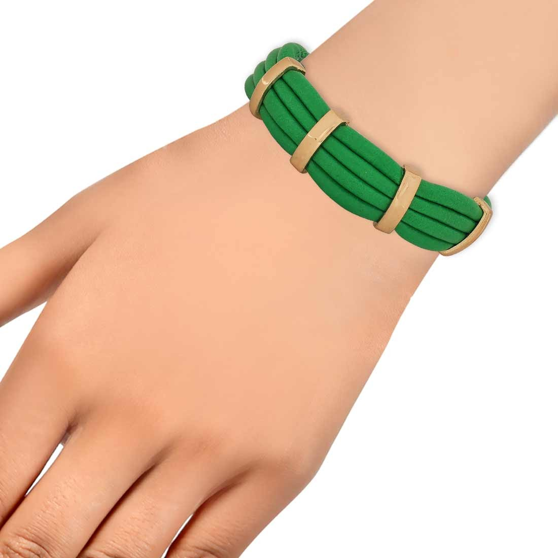 Adorable Green Gold in-Trend Adjustable Reunion Bracelet Alloy Maayra MY7780