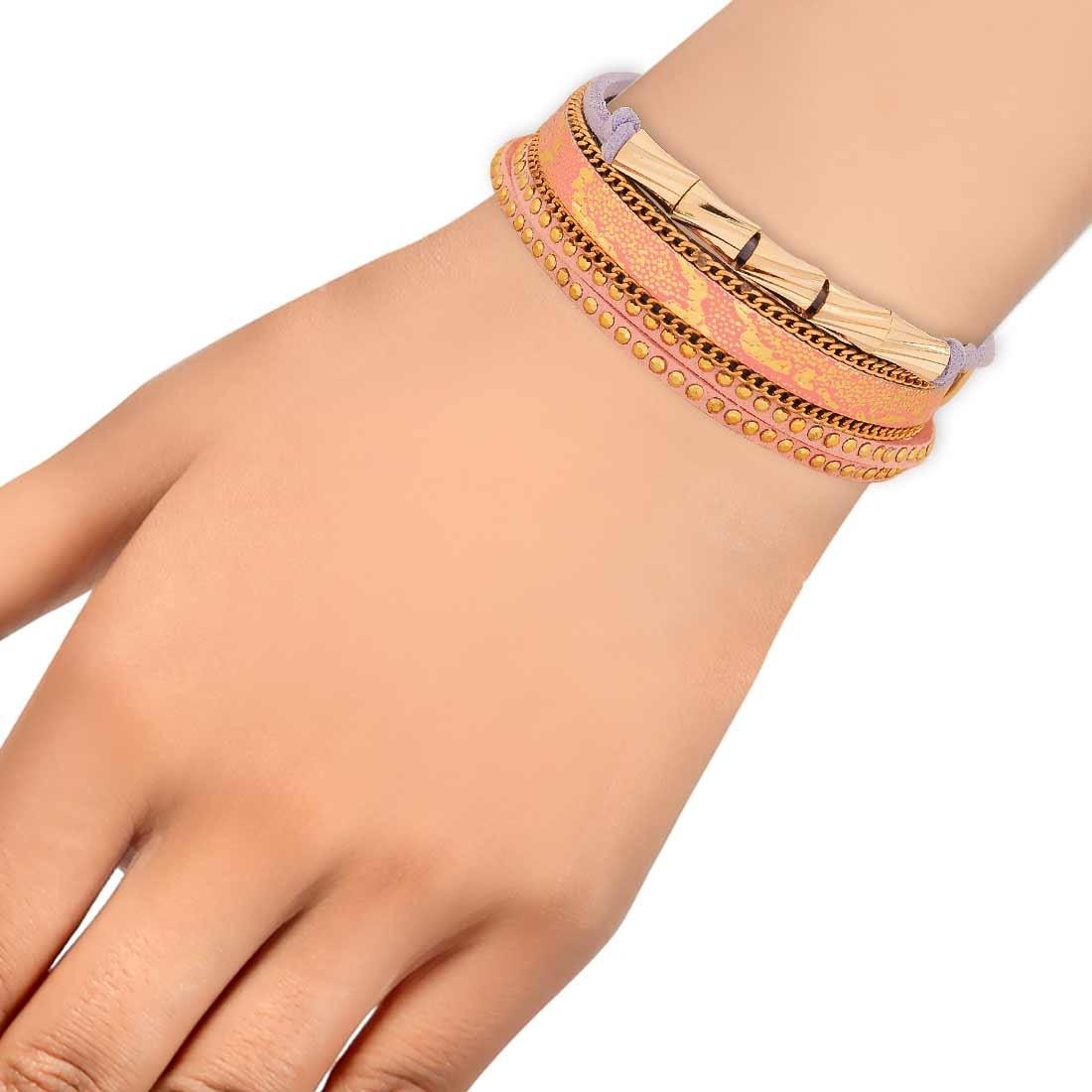 Lovable Pink Blue in-Trend Adjustable Casualwear Bracelet Alloy Maayra MY7781