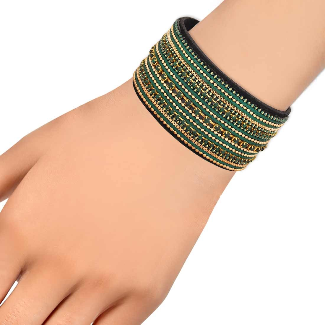 Gorgeous Green Gold in-Trend Adjustable Party Size Bracelet Alloy Maayra MY7783