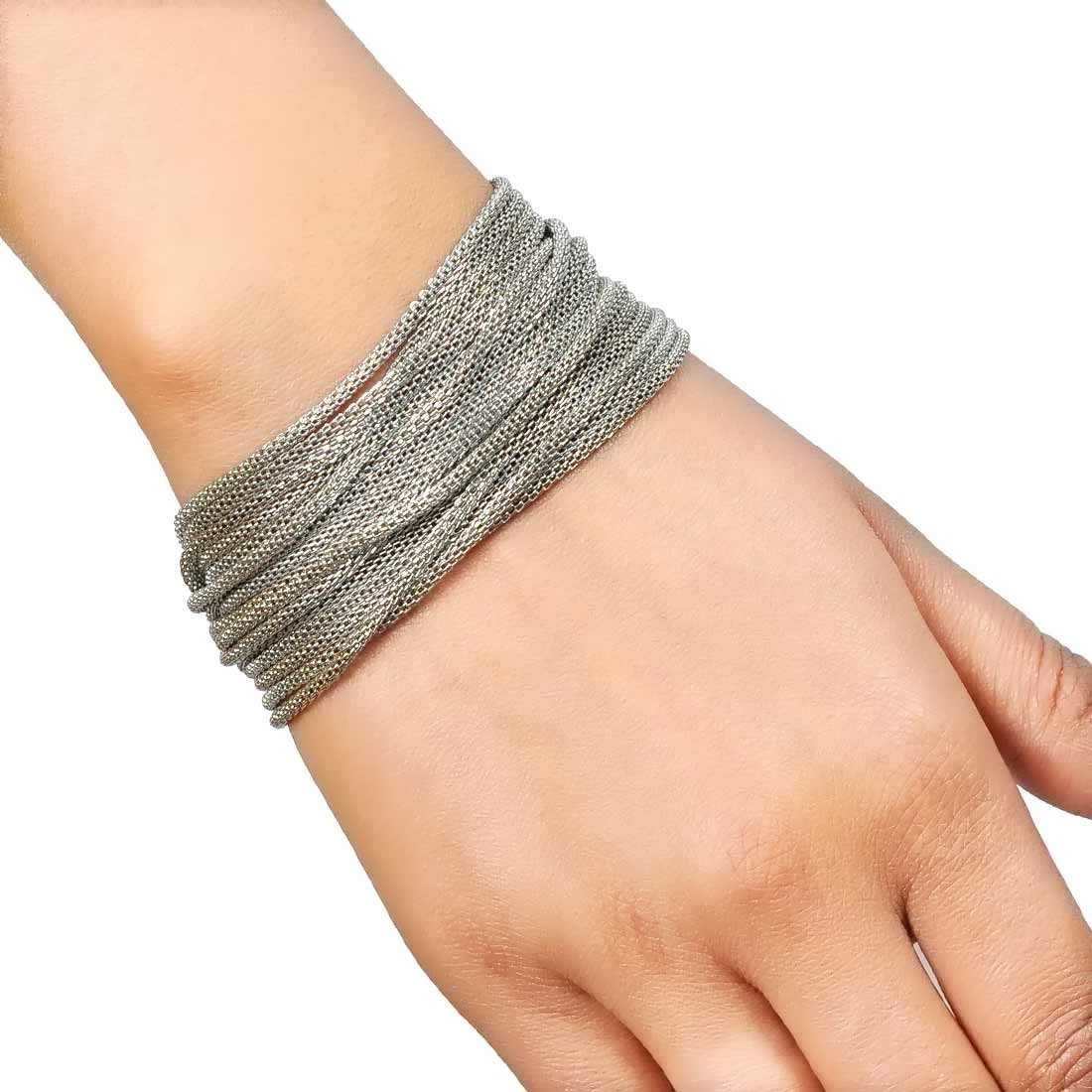 Plush Silver in-Trend Adjustable Get-together Size Bracelet Alloy Maayra MY7785
