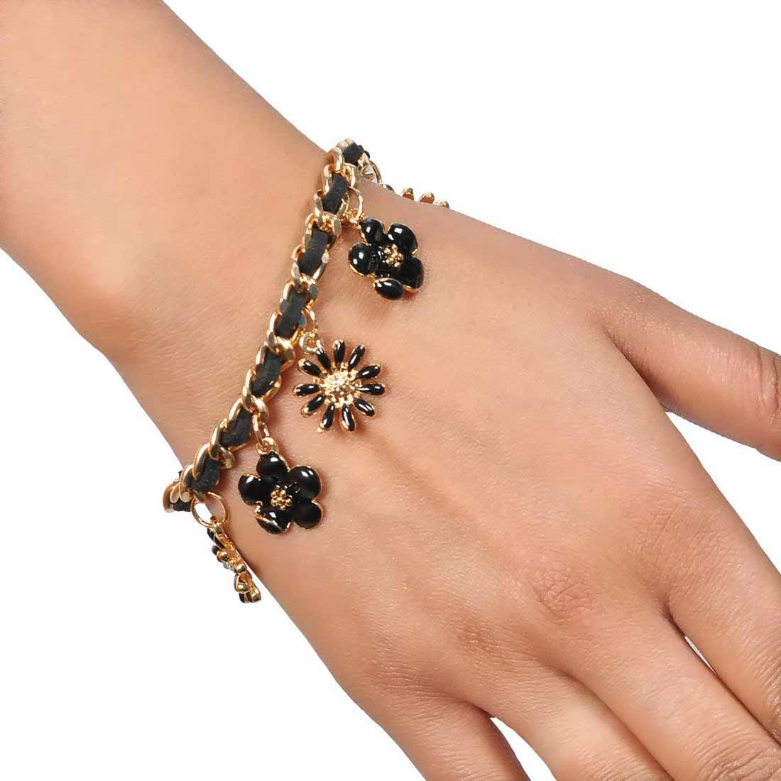 Sexy Black Gold in-Trend Adjustable Casualwear Bracelet Alloy Maayra MY7788