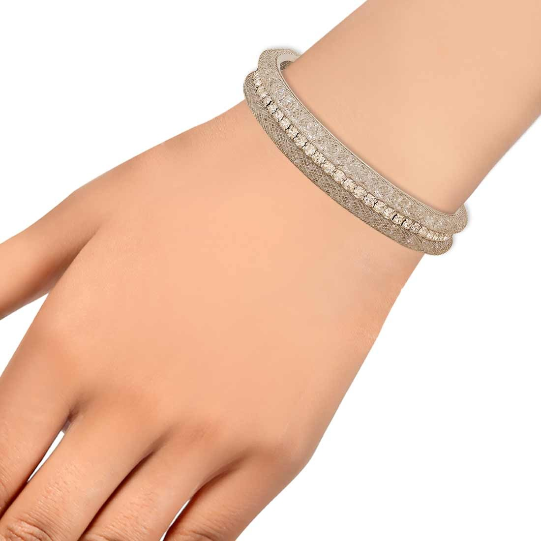 Class Silver Jaali Work Adjustable College Size Cuff Alloy Maayra MY7789
