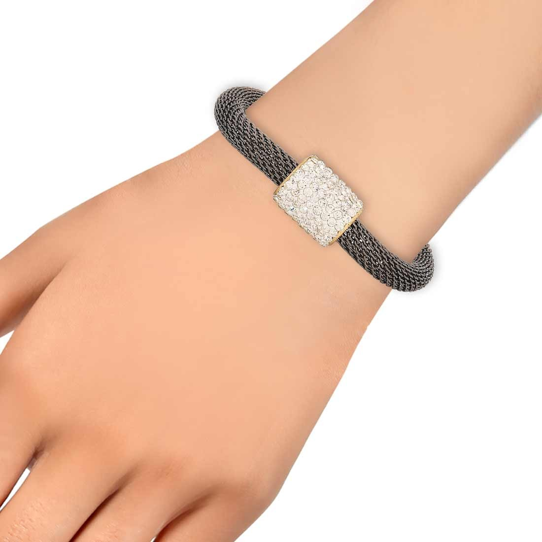 Terrific Grey in-Trend Adjustable Cocktail Size Bracelet Alloy Maayra MY7791