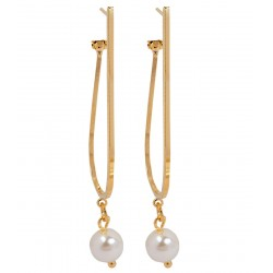 Maayra High-class White Pearl Clip-Back Drop Earrings