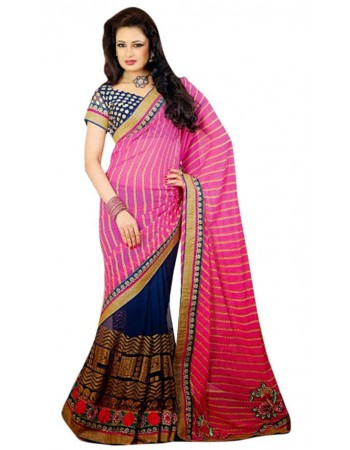 Exquisite Mystic Blue & Pink Embroidered Saree