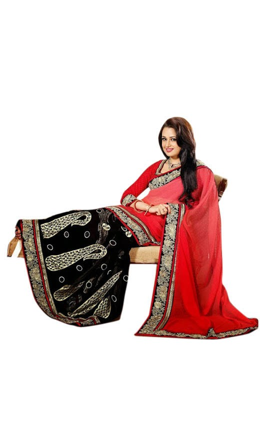 dazzling diva black pink red embroidered saree rs 3395
