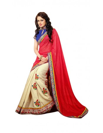 Exotic Buttercream & Fuchsia Embroidered Saree