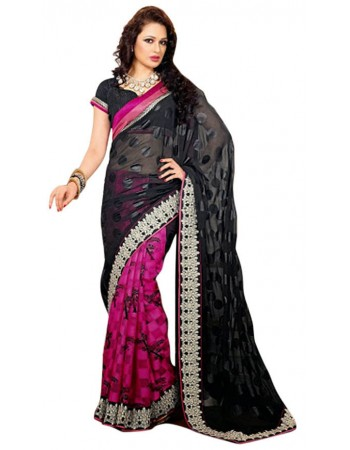 Dazzling Diva Black, Pink & Red Embroidered Saree