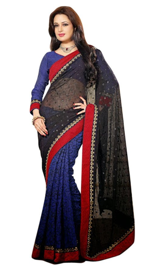 fascinating black mystic blue embroidered saree rs 2695
