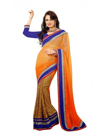 Ethnic Beige & Deep Orange Embroidered Saree