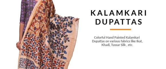Hand Painted Kalamkari Dupattas