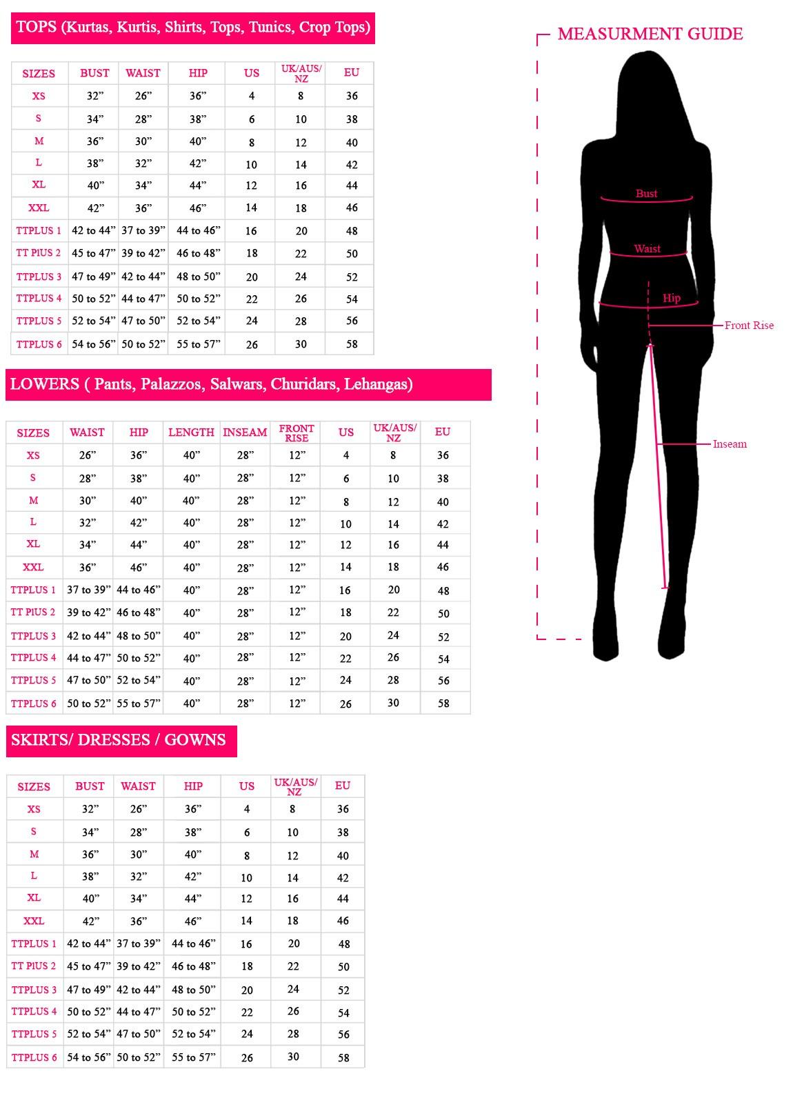 Size Chart Women